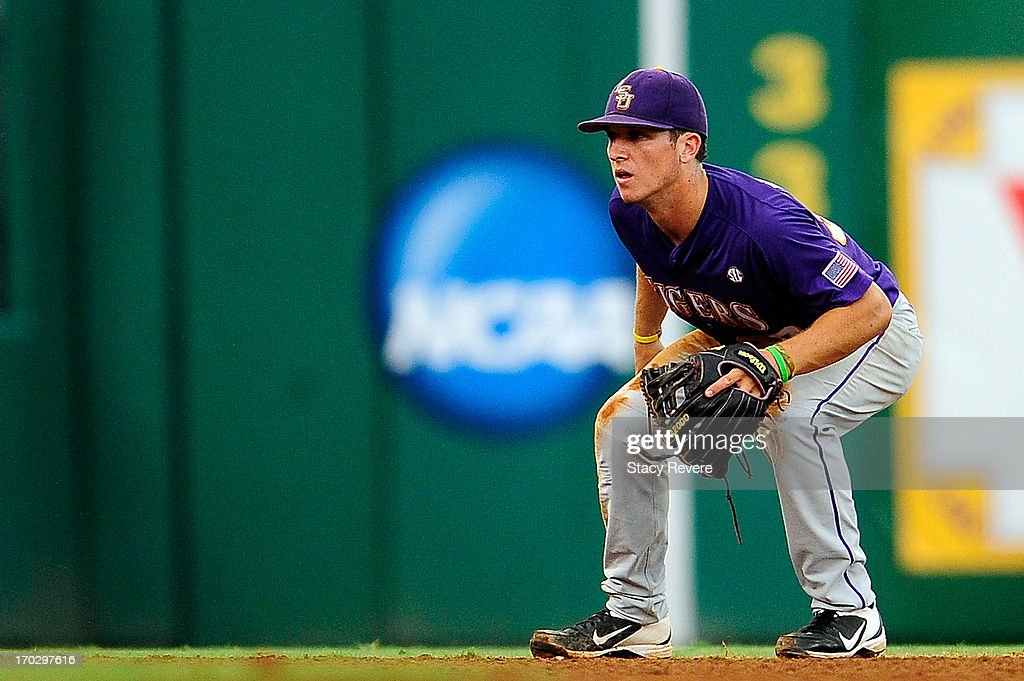 Alex Bregman #30 of the LSU Tigers anticipates a play during Game 2 of the NCAA baseball Super Regionals against the Oklahoma Sooners at Alex Box Stadium on June 8, 2013 in Baton Rouge, Louisiana.