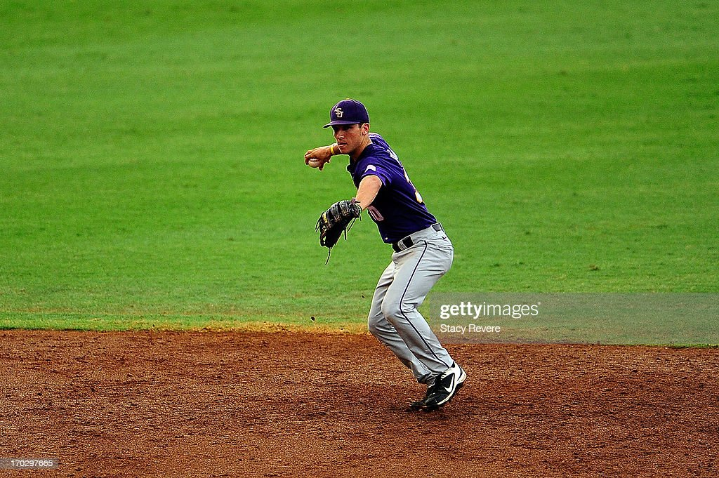 <a gi-track='captionPersonalityLinkClicked' href=/galleries/search?phrase=Alex+Bregman+-+Baseball+Player&family=editorial&specificpeople=10891415 ng-click='$event.stopPropagation()'>Alex Bregman</a> #30 of the LSU Tigers makes a play during Game 2 of the NCAA baseball Super Regionals against the Oklahoma Sooners at Alex Box Stadium on June 8, 2013 in Baton Rouge, Louisiana.