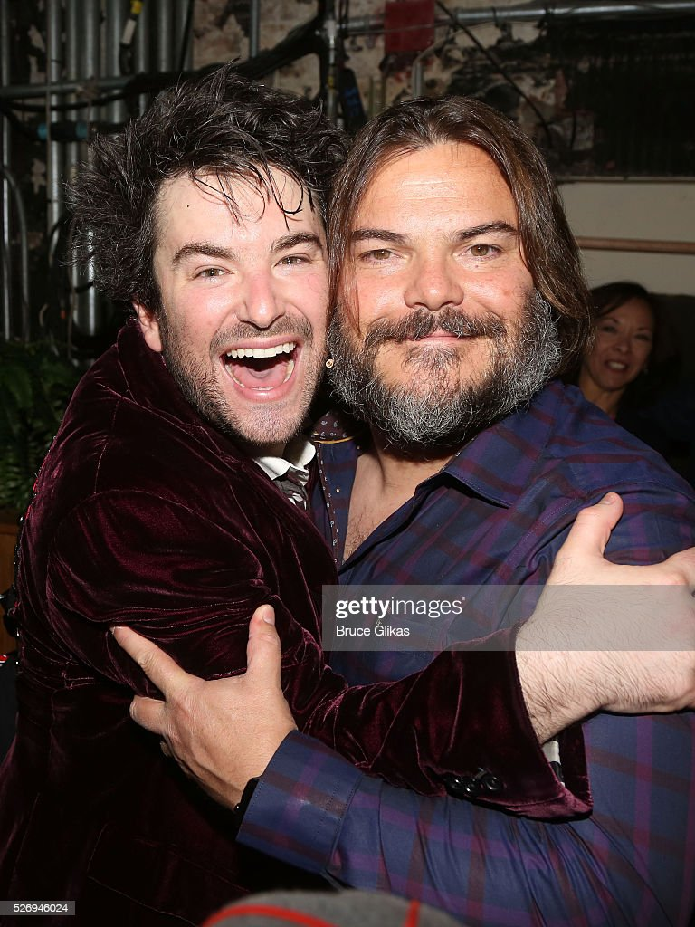 Alex Brightman (who plays 'Dewey Finn' onstage) and Jack Black (who played 'Dewey Finn' in the movie) pose backstage at the hit musical based on the film starring Jack Black 'School of Rock' on Broadway at The Winter Garden Theatre on May 1, 2016 in New York City.