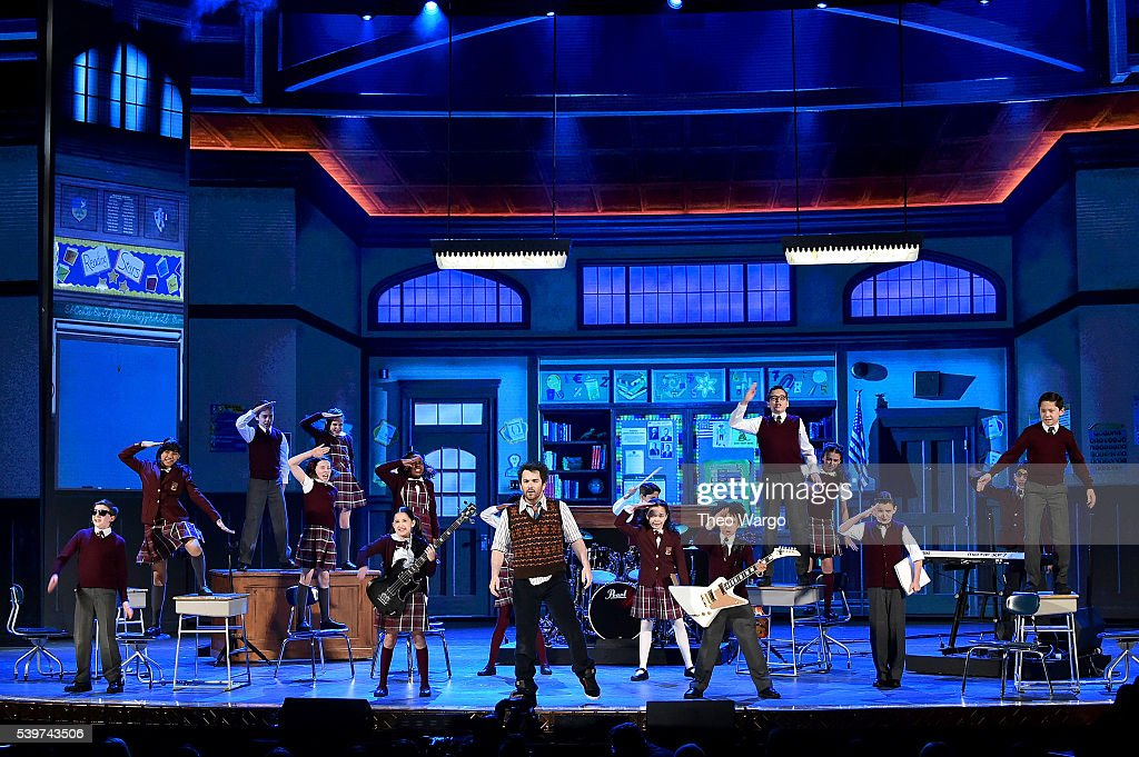 Alex Brightman and the cast of 'School of Rock' performs onstage during the 70th Annual Tony Awards at The Beacon Theatre on June 12 2016 in New York...