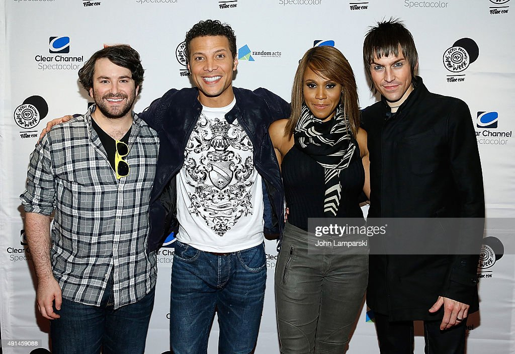 Alex Brightman Justin Guarini Deborah Cox and Tony Vincent attend 'Celebrity Karaoke An Epic Evening With The Stars' at Hard Rock Cafe Times Square...