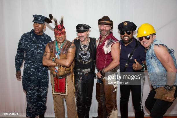 Alex Briley Felipe Rose Eric Anzalone Jim Newman Ray Simpson and Bill Whitefield of the Village People pose for photographers at Rewind Festival on...