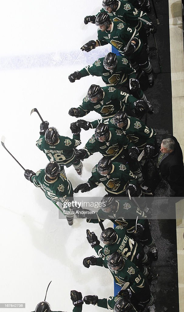 Alex Broadhurst #18 of the London Knights celebrates a goal in Game Five of the Western Conference Final against the Plymouth Whalers on April 26, 2013 at the Budweiser Gardens in London, Ontario, Canada. The Knights defeated the Whalers 5-4 in overtime to win the series 4-1.