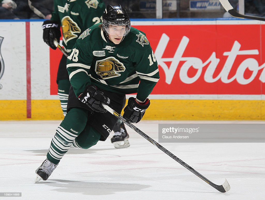 Alex Broadhurst #18 of the London Knights skates in an OHL game against the Kitchener Rangers on January 5, 2013 at the Budweiser Gardens in London, Canada. The Knights defeated the Rangers 3-2.