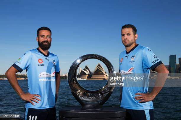 Alex Brosque and Bobo of Sydney FC pose ahead of their semi final match against the Perth Glory during the Sydney FC ALeague media opportunity at...