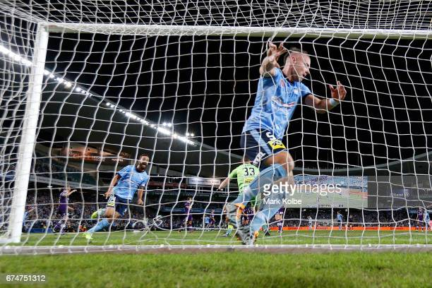 Alex Brosque and Jordy Buijs of Sydney FC celebrate Jordy Buijs scoring a goal during the ALeague Semi Final match between Sydney FC and the Perth...