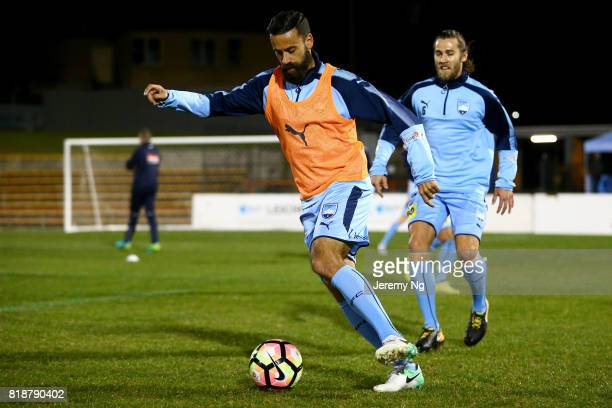 Alex Brosque and Joshua Brillante of Sydney FC warm up prior to the 2017 Johnny Warren Challenge match between Sydney FC and Earlwood Wanderers at...