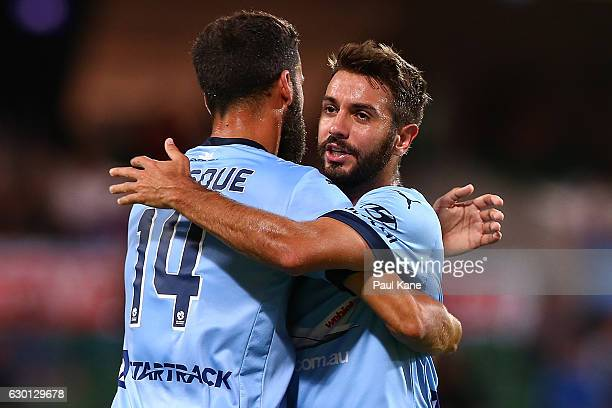 Alex Brosque and Michael Zullo of Sydney celebrate a goal during the round 11 ALeague match between Perth Glory and Sydney FC at nib Stadium on...