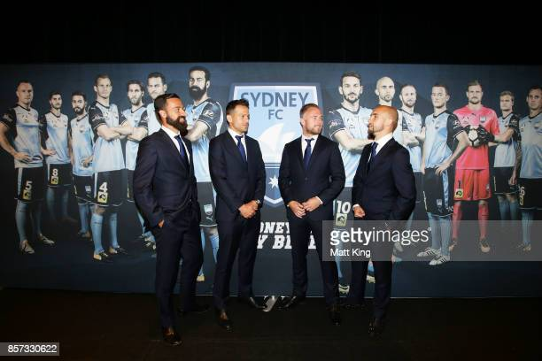 Alex Brosque Bobo Jordy Buijs and Adrian Mierzejewski pose during the Sydney FC 2017/18 ALeague Season Launch at the Westin on October 4 2017 in...