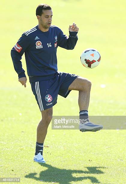 Alex Brosque controls the ball during a Sydney FC ALeague training session at Macquarie Uni on July 1 2014 in Sydney Australia
