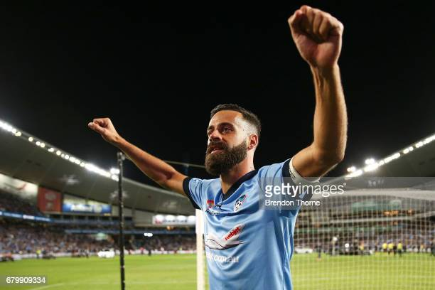 Alex Brosque of Sydney celebrates at full time after Sydney FC win a penalty shoot out during the 2017 ALeague Grand Final match between Sydney FC...