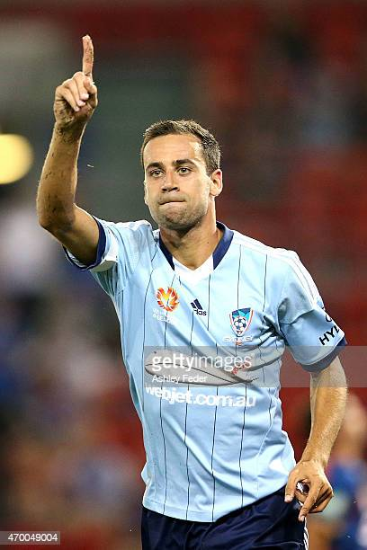 Alex Brosque of Sydney FC celebrates his goal during the round 26 ALeague match between the Newcastle Jets and the Sydney FC at Hunter Stadium on...