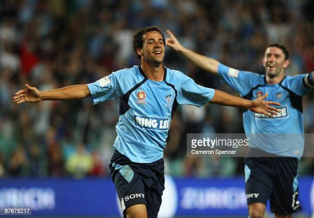 Alex Brosque of Sydney FC celebrates kicking a goal during the ALeague preliminary final match between Sydney FC and the Wellington Phoenix at the...