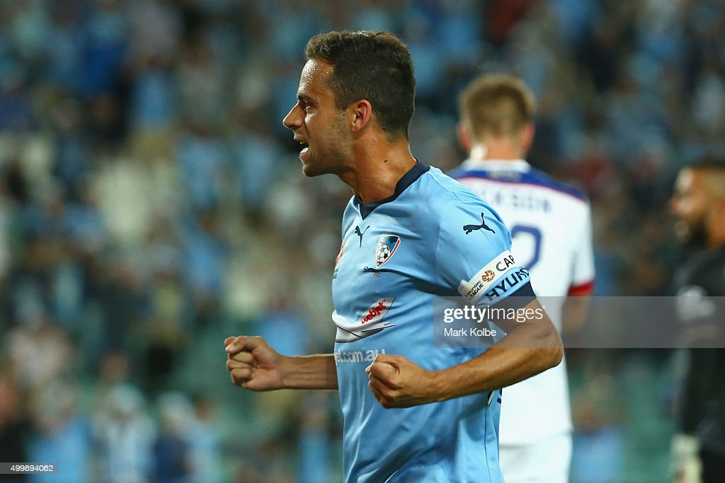 Alex Brosque of Sydney FC celebrates scoring a goal during the round nine ALeague match between Sydney FC and the Newcastle Jets at Allianz Stadium...