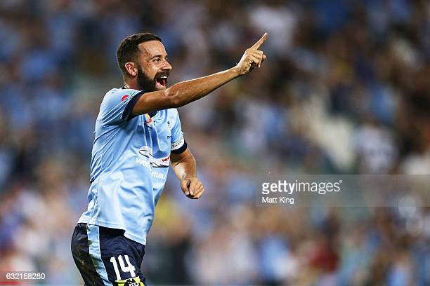 Alex Brosque of Sydney FC celebrates scoring a goal during the round 16 ALeague match between Sydney FC and Adelaide United at Allianz Stadium on...