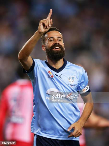 Alex Brosque of Sydney FC celebrates scoring a goal during the round 25 ALeague match between Sydney FC and Melbourne City FC at Allianz Stadium on...