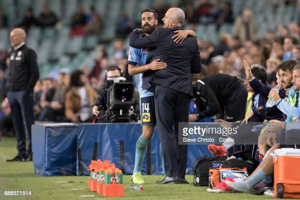 Alex Brosque of Sydney FC holds up the ALeague trophy during the 2017 ALeague Grand Final match between Sydney FC and the Melbourne Victory at...