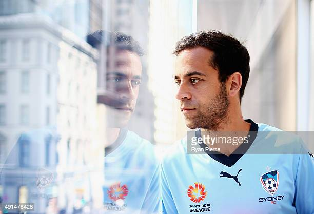 Alex Brosque of Sydney FC poses during the 2015/16 ALeague season launch at the Telstra Customer Insight Centre on October 6 2015 in Sydney Australia
