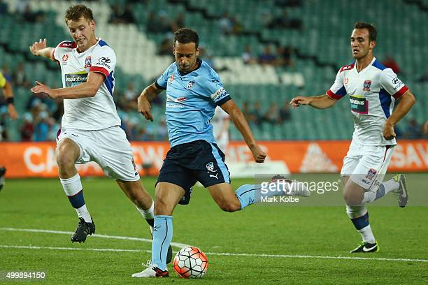 Alex Brosque of Sydney FC scores a goal during the round nine ALeague match between Sydney FC and the Newcastle Jets at Allianz Stadium on December 4...
