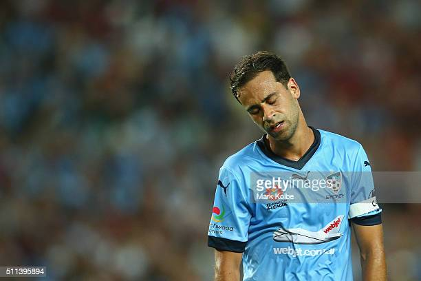 Alex Brosque of Sydney FC shows his frustration during the round 20 ALeague match between Sydney FC and the Western Sydney Wanderers at Allianz...