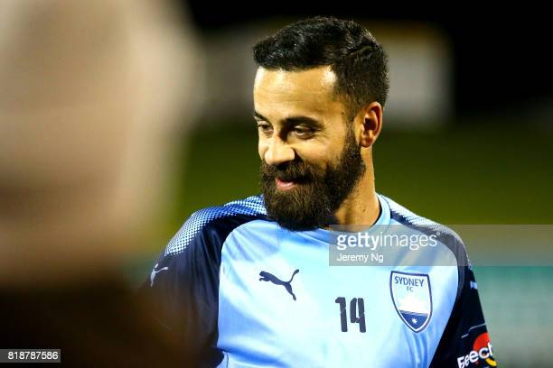 Alex Brosque of Sydney FC smiles with fans after the 2017 Johnny Warren Challenge match between Sydney FC and Earlwood Wanderers at Leichhardt Oval...