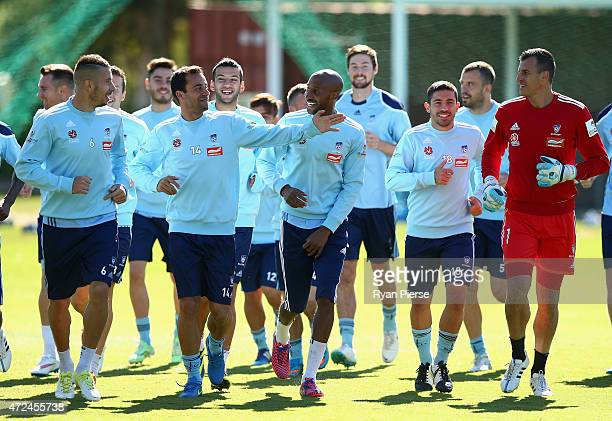 Alex Brosque of Sydney FC speaks to the group during a Sydney FC ALeague training session at Macquarie Uni on May 8 2015 in Sydney Australia