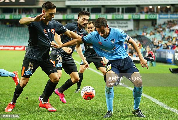 Alex Brosque of Sydney in action during the round five ALeague match between Sydney FC and Brisbane Roar at Allianz Stadium on November 6 2015 in...