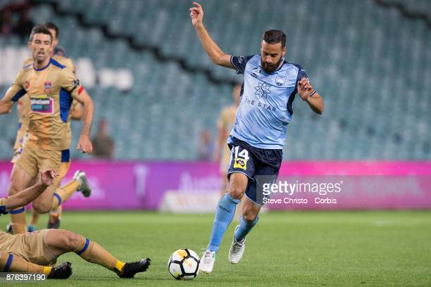 Alex Brosque of the Sydney FC gets past the Jets defence during the round seven ALeague match between Sydney FC and Newcastle Jets at Allianz Stadium...