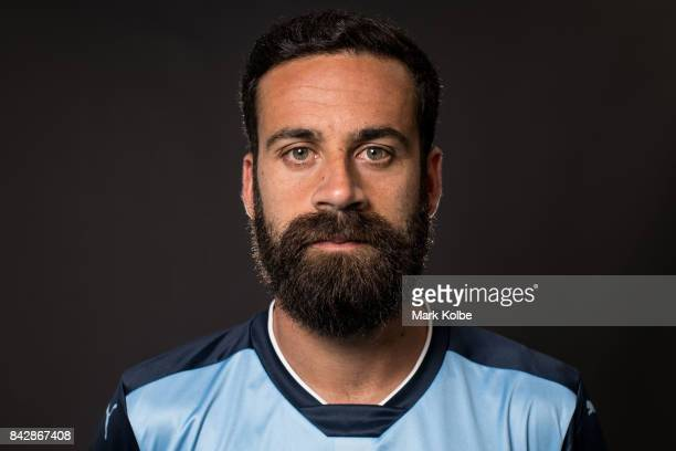 Alex Brosque poses during the Sydney FC ALeague headshots session at Macquarie University on September 5 2017 in Sydney Australia