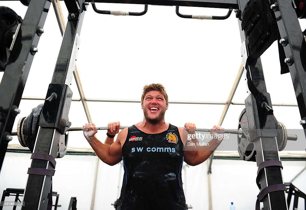 Alex Brown of Exeter Chiefs in action during a training session at the University of Exeter on July 8 2014 in Exeter England