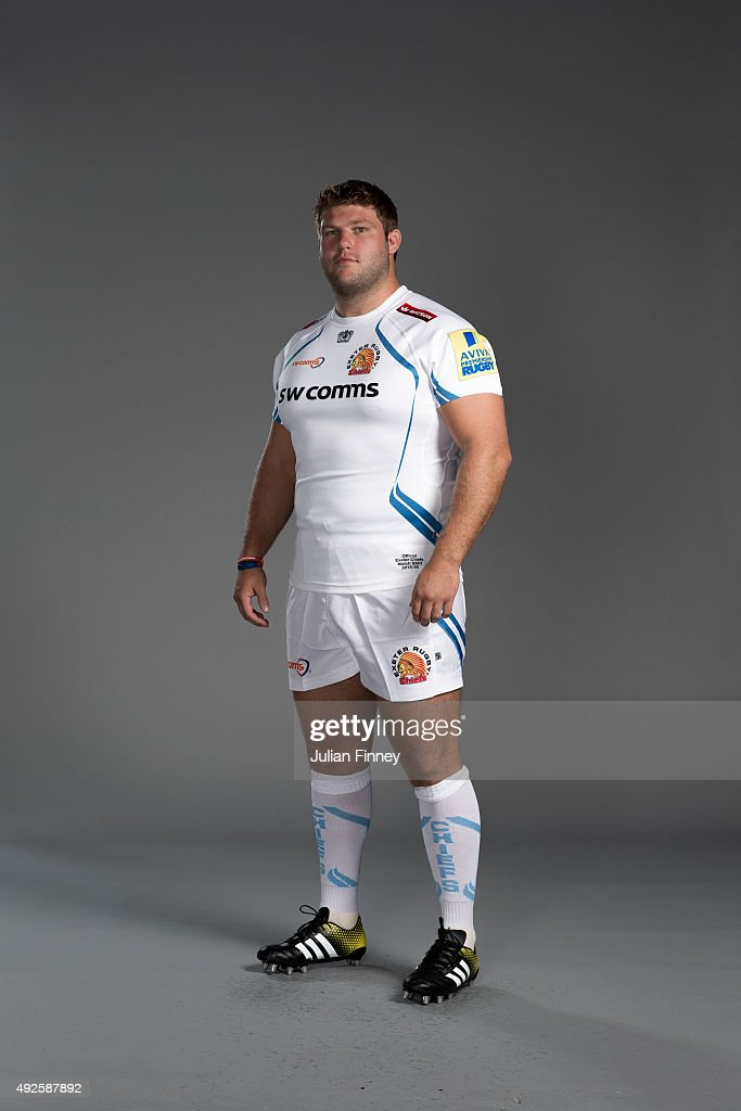 Alex Brown of Exeter Chiefs poses for a picture during the Exeter Chiefs photocall for BT at Sandy Park Stadium on September 8 2015 in Exeter England
