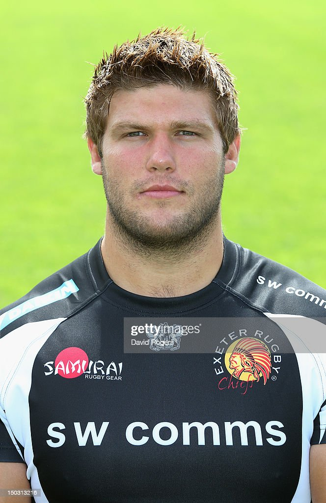 Alex Brown of Exeter Chiefs poses for a portrait at the photocall held at Sandy Park on August 15 2012 in Exeter England