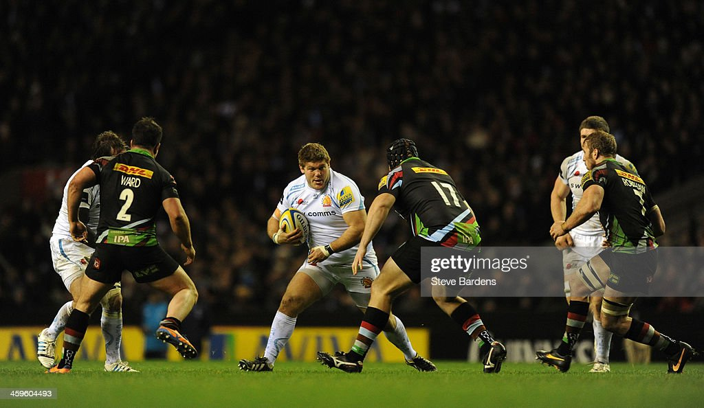 Alex Brown of Exeter Chiefs runs with the ball during the Aviva Premiership match between Harlequins and Exeter Chiefs at Twickenham Stadium on...