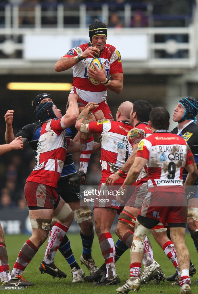 Alex Brown of Gloucester catches the lineout ball during the Aviva Premiership match between Bath and Gloucester at the Recreation Ground on February...