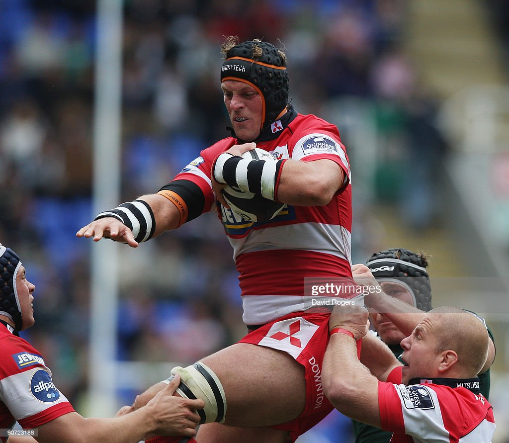 Alex Brown of Gloucester holds onto the ball during the Guinness Premiership match between London Irish and Gloucester at the Madejski Stadium on...