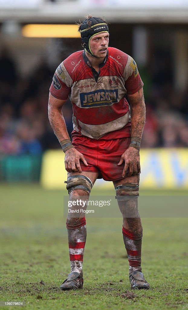 Alex Brown of Gloucester looks on during the Aviva Premiership match between Bath and Gloucester at the Recreation Ground on February 18 2012 in Bath...