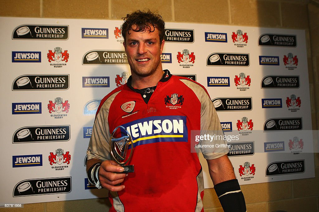 Alex Brown of Gloucester receives the man of the match award during the Guinness Premiership Match between Gloucester Rugby and Bristol Rugby at...