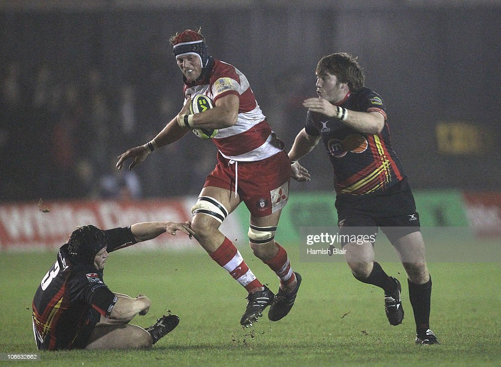 Alex Brown of Gloucester takes on the Dragons defence during the LV Anglo Welsh Cup match between Newport Gwent Dragons and Gloucester at Rodney...