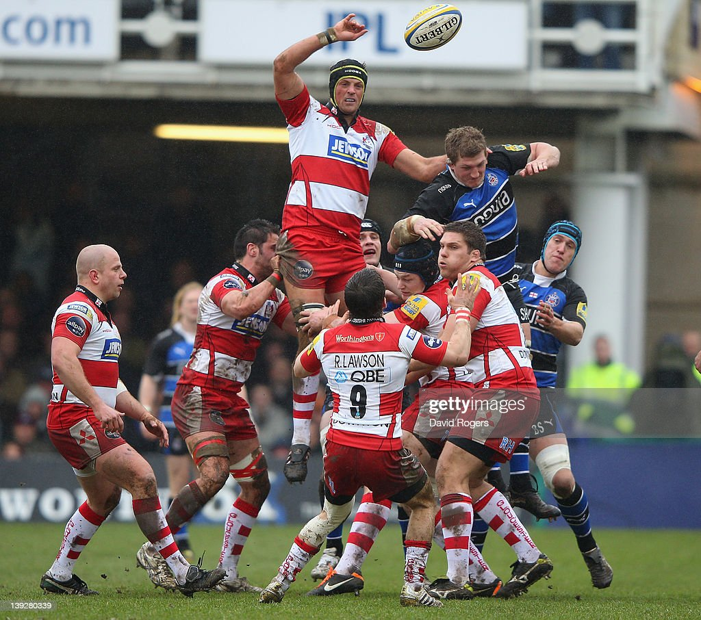 Alex Brown of Gloucester wins the lineout ball during the Aviva Premiership match between Bath and Gloucester at the Recreation Ground on February 18...