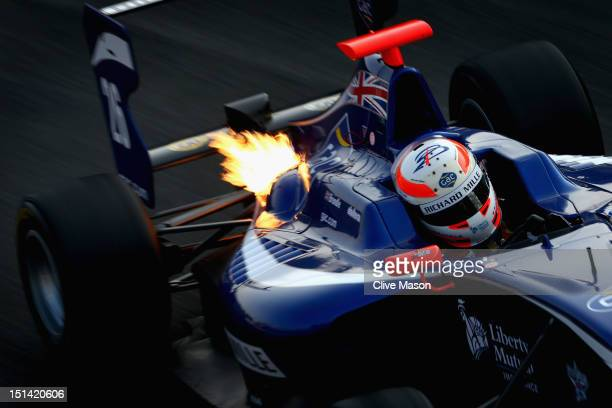 Alex Brundle of Great Britain and Carlin Motorsport drives in the GP3 series prior to practice for the Italian Formula One Grand Prix at the...