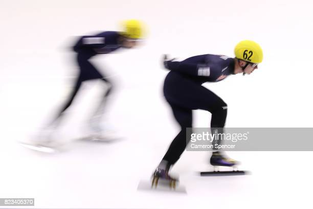 Alex Bryant of Australia leads competitors during the Australian World Cup Short Track Trials on July 27 2017 at Canterbury Olympic Ice Rink in...