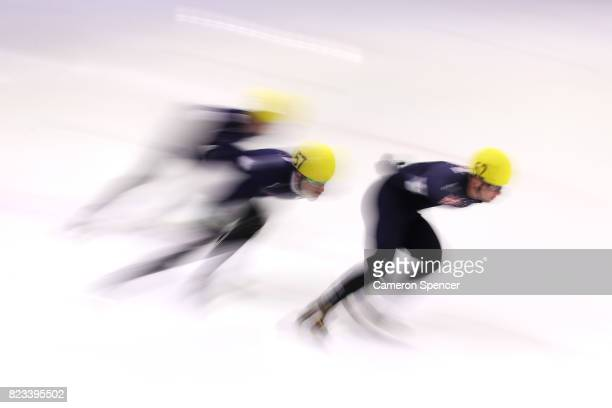 Alex Bryant of Australia leads Pierre Boda of Australia during the Australian World Cup Short Track Trials on July 27 2017 at Canterbury Olympic Ice...