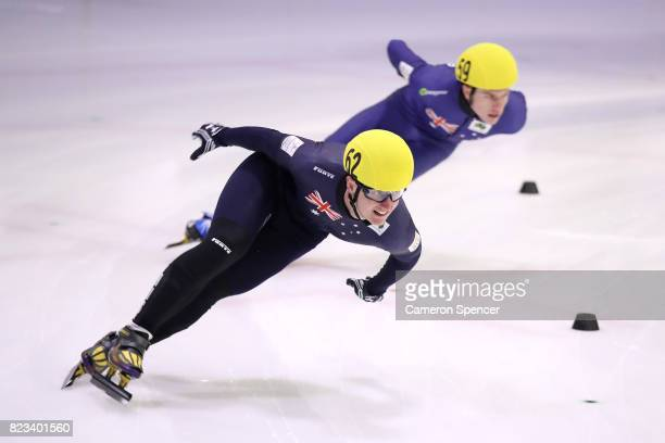Alex Bryant of Australia races during the Australian World Cup Short Track Trials on July 27 2017 at Canterbury Olympic Ice Rink in Sydney Australia