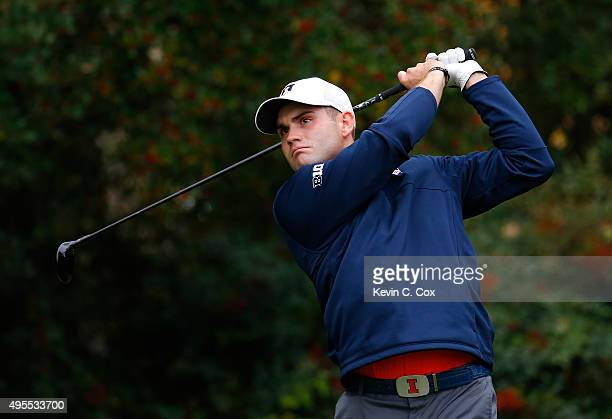 Alex Burge of the Illinois Fighting Illini tees off the fourth hole during day 2 of the 2015 East Lake Cup at East Lake Golf Club on November 3 2015...