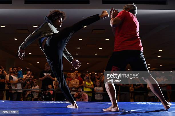 Alex Caceres holds an open workout session for the media at Vivint Smart Home Arena on August 4 2016 in Salt Lake City Utah