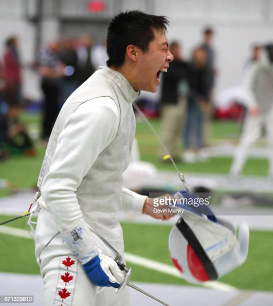 Alex Cai celebrates a victory during the Junior Men's Foil event on April 21 2017 at the Canadian National Fencing Championships at the Complexe...
