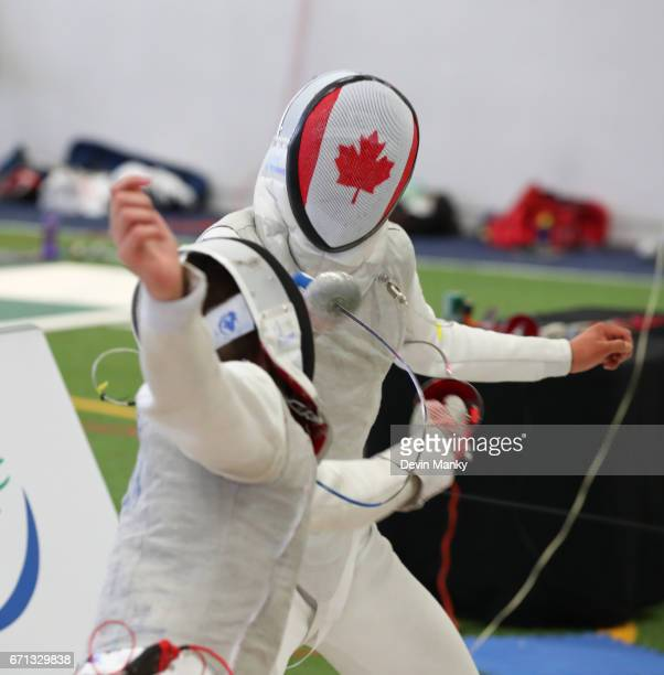 Alex Cai fences Blake Broszus during semifinal action of the Junior Men's Foil event on April 21 2017 at the Canadian National Fencing Championships...