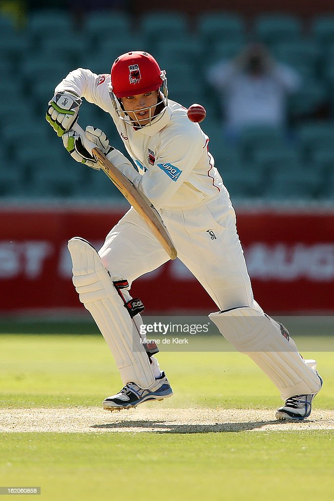 Alex Carey of the Redbacks bats during day one of the Sheffield Shield match between the South Australian Redbacks and the New South Wales Blues at Adelaide Oval on February 19, 2013 in Adelaide, Australia.