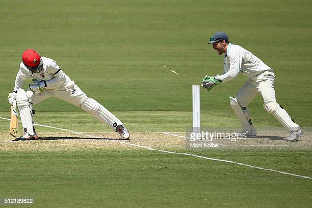 Alex Carey of the Redbacks looks back as Ryan Carters of the Blues attempts a stumping during day one of the Sheffield Shield match between New South...