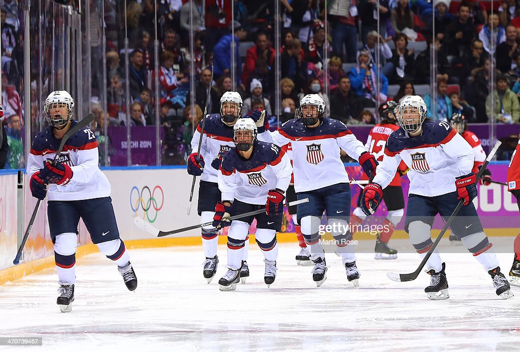 Alex Carpenter #25 of the United States celebrates her goal with teammates in the third period against Canada during the Ice Hockey Women's Gold Medal Game on day 13 of the Sochi 2014 Winter Olympics at Bolshoy Ice Dome on February 20, 2014 in Sochi, Russia.